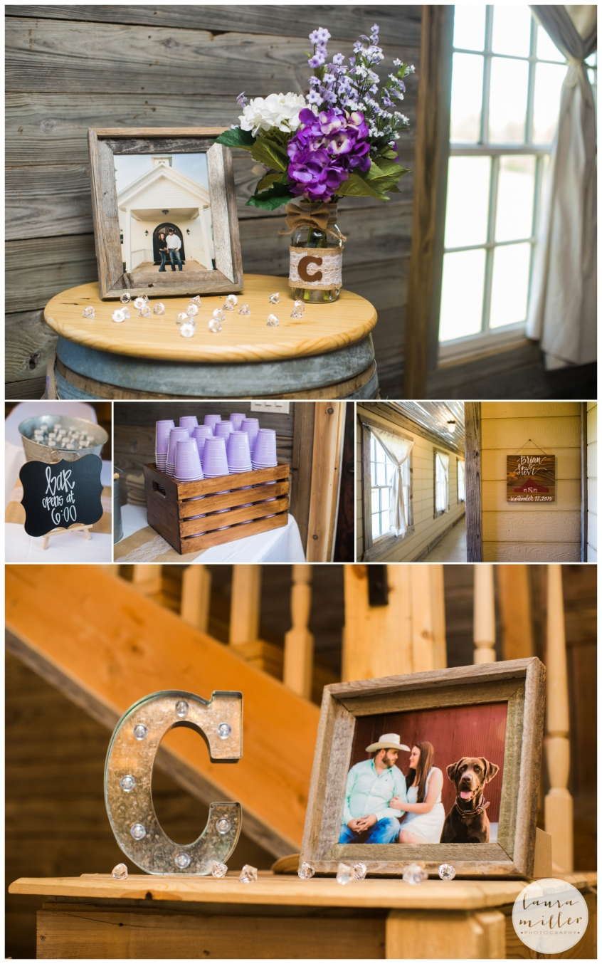 Bar and Rustic Decor at Barn Wedding at Rustic Grace Estate by Laura Miller Dallas Wedding Photographer