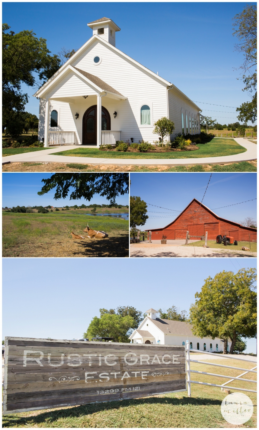 Red barn and White chapel wedding at Rustic Grace Estate by Laura Miller Dallas Wedding Photographer